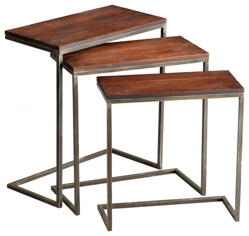 wooden rustic C legs nesting tables