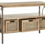 wooden table with steel legs and three rattan drawers