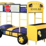 Yellow Bus Bunk Beds With Blue Comforter