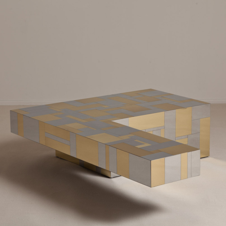 Yellow Grey Pattern L Shaped Coffee Table