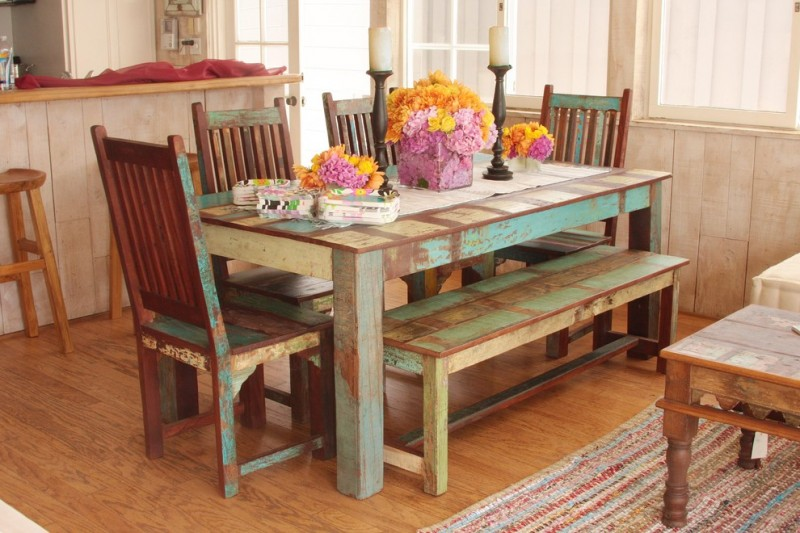 Indian dining room sets of wooden chairs and wooden table in blue yellow paint