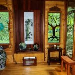 Japanase Wooden House Interior Small Wooden Bench Traditional Porcelain Vase Oriental Style Glass Window With Motif Small Asian Decorative Items