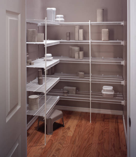 L shaped metal wire closet organizer idea consisting of wire shelving system
