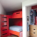 L shaped red wooden bunk beds