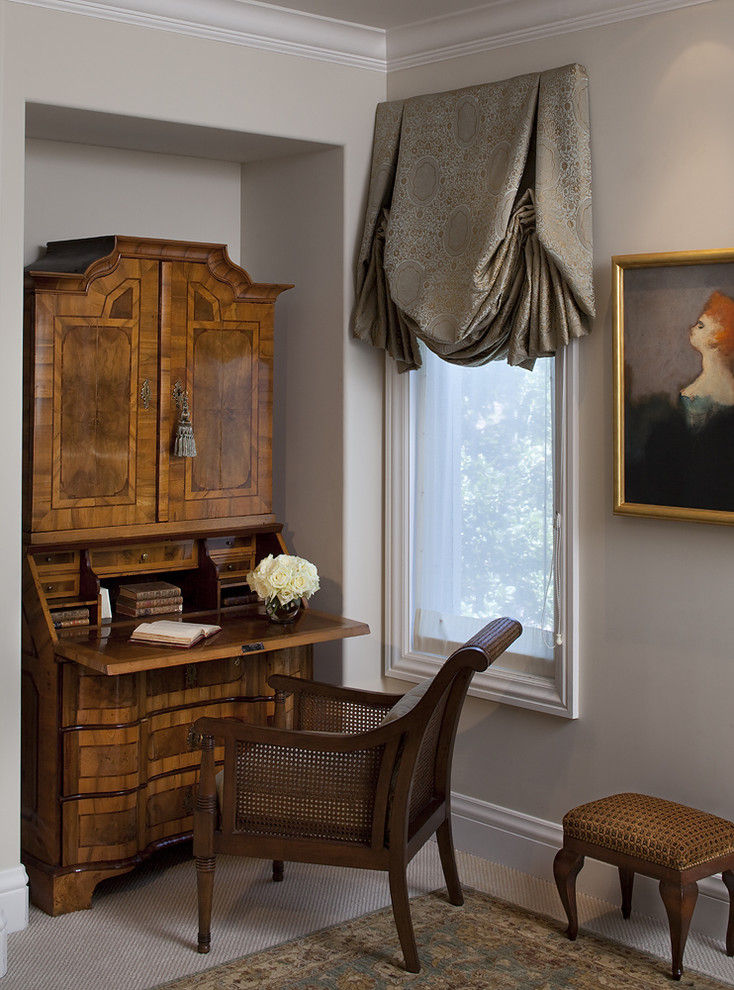 Roman style home office idea with dark wooden working table with extra storage dark wooden working chair dark wooden vanity chair elegant grey half window curtain with decorative base