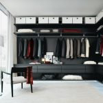 U Shaped Contemporary Closet A Floor To Ceiling Cabinet Black Cabinet Open Shleves White Storage Boxes Glass Wall
