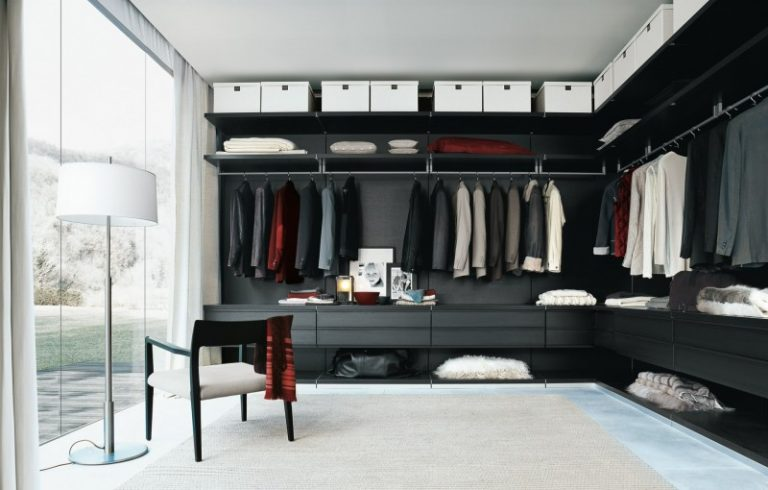 U Shaped Contemporary Closet A Floor To Ceiling Cabinet Black Cabinet Open  Shleves White Storage Boxes