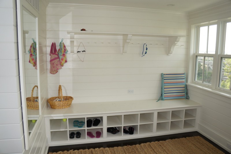 beach white horizontal wood paneling in storage