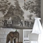 Bedroom For Baby With White Cribs, White Grey Rug, Wood Flooring, White Cabinet, Big Paintings Of Elephants, Big Stuffed Elephants