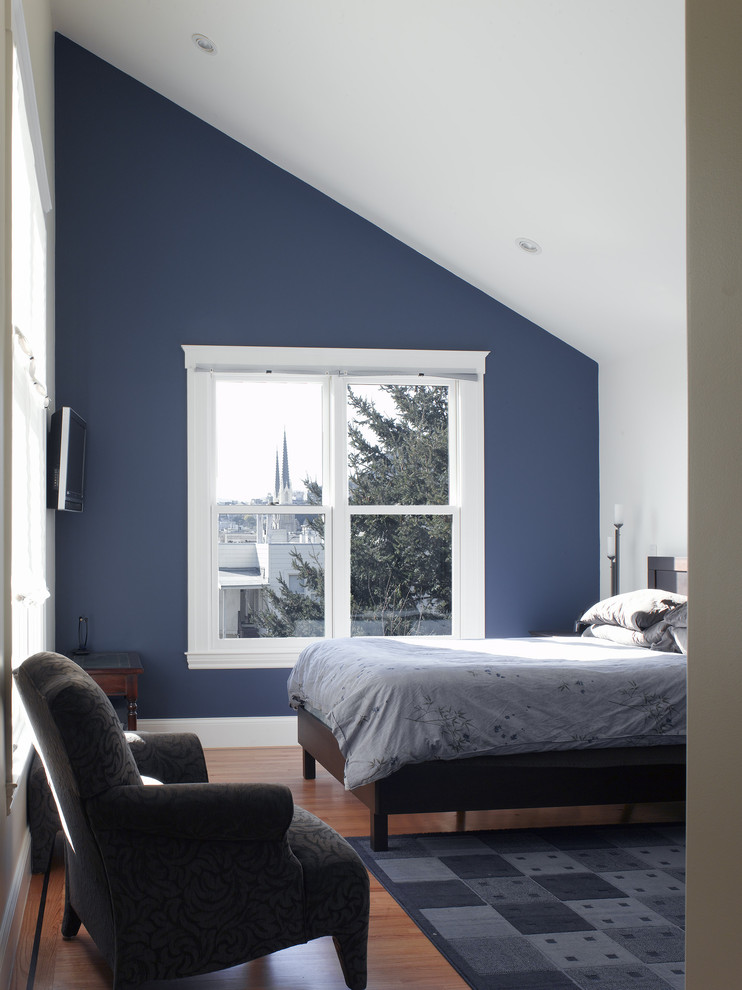 Different blue shades in the bedroom with different tales Dark brown walls bedroom