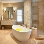 Beige Marble Floor Brick Wall Contemporary White Free Standing Bathtub Glass Shower Door Floating Vanity Unit