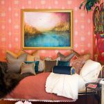 best colour combination carpet bed pillows painting pink wall table victorian style blue brown yellow