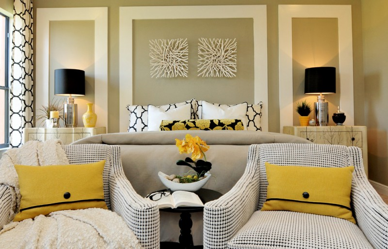 best colour combination for ur bedroom beige wall curtain lamp chairs wall decor pillows bed book glasses pops of yellow