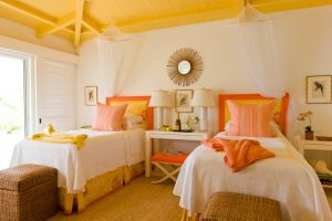 best colour combination for ur bedroom vibrant orange hot yellow white walls wall decor lamps basket beds