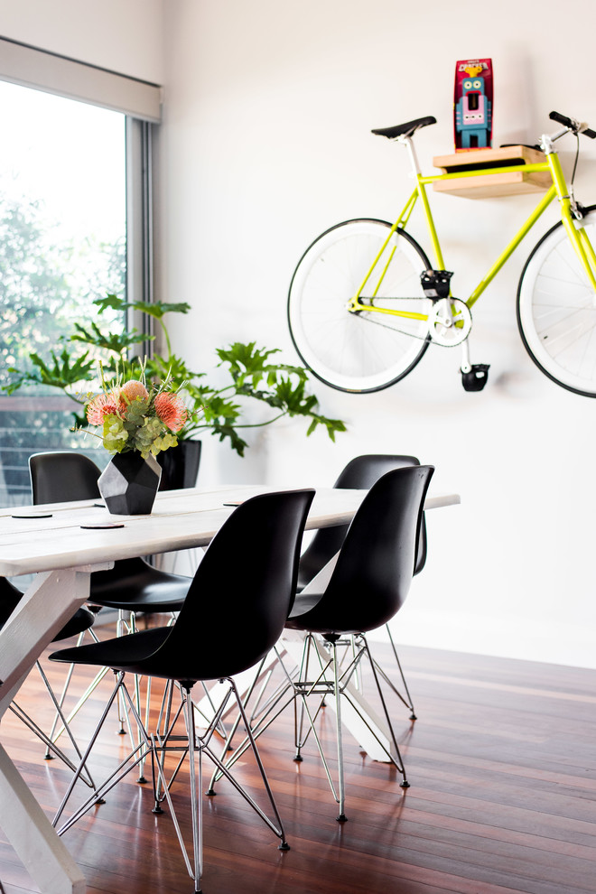 bike rack for apartment dining area modern chairs table wood floor modern flower pot bicycle glass