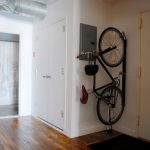 bike rack for apartment wood floor door simple design entryway bicycle helmet metal curtain interior