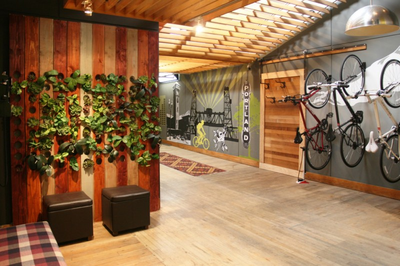 bike rack for apartment wood hanging lamp wooden floor urban design wooden wall seating with storage