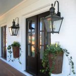black metal framed glass rustic outdoor lamp