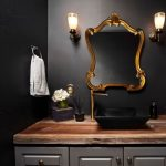 black square sink, thin gold modern faucet, brown wood vanity, grey cabinet, gold frame mirror