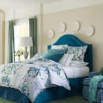 Blue Bed Set With Blue Headboard White Bed Sheet With Line Accent Quilt With Blue Decoration Shams With Watercolor Motifs Multi Colors Rug Blue Armchair With White Motif Green Half Way Curtains