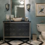 Blue Metallic Dark Wood Vanity With Dark Cabinet, Shagreen Faucet, Onyx Vessel Sink