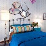Bold Blue Bed Sheet Stripped Pillow In Multi Colors Bold Blue Pillows Black Wrought Iron Bed With Headboard Chained Mirror With Wrought Iron Frames Walls With Light Blue Wallpaper