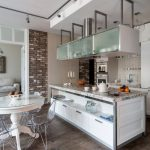 Brick Wall White Cabinet Glass Dining Chairs Glass Topped Dining Table Marble Counter Top Bar Lights