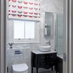 Butterflies Motif Window Curtain In Half Installation White Toilet Black Vanity With Cabinetry And Free Standing Sink Frameless Mirror White Ball Pendant Lamp White Ceramic Floors And Wa