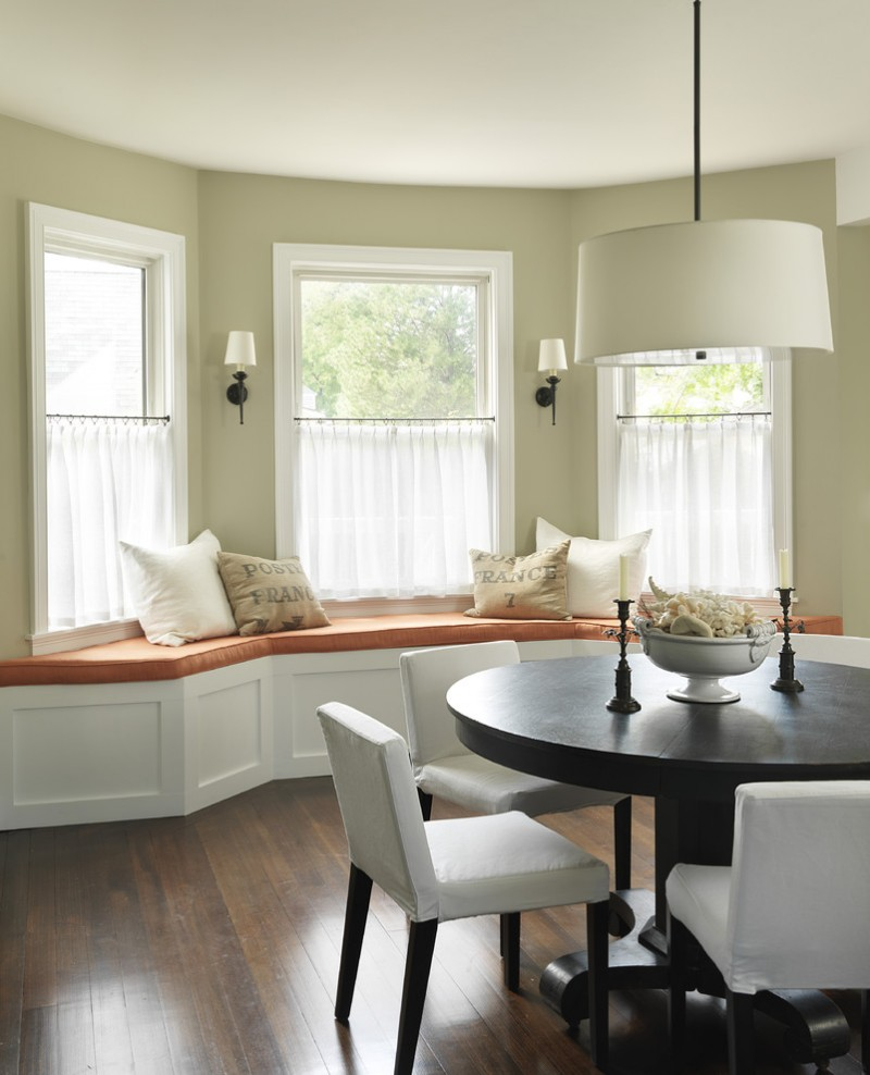 Cafe Curtains In White Curve Bench With Comfortable Seater And Accent Pillows Dining Chairs