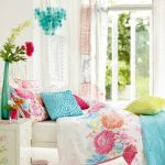 Candy Colored Bed Sheet Idea White Bedside Table With Floral Motifs