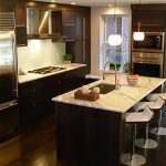 Cashmere Countertops Kitchen Wood Floor Modern Dining Chairs Window Glass Hanging Lamps Wall Cabinets