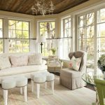 Chic & Shabby Sunroom With Soft Beige Chairs Unique White Tables Unique Wooden Side Table Chic Rug White Tier Curtains Classic Pendant Lamp