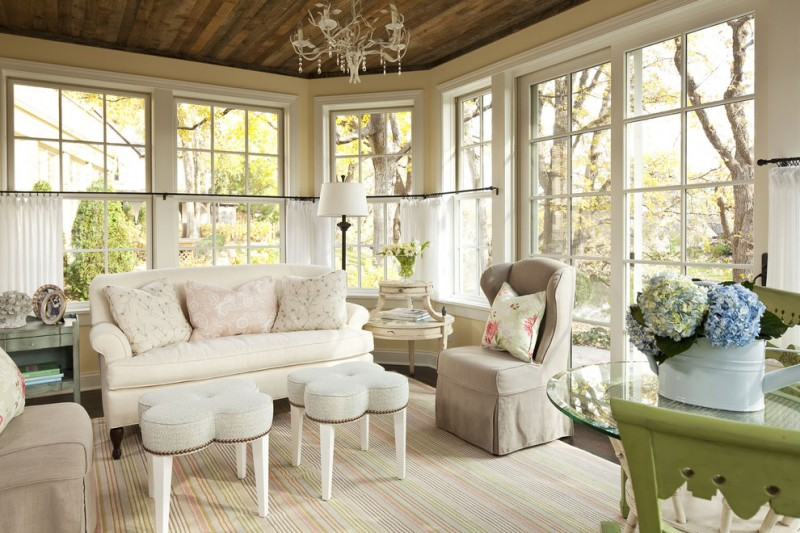 White Tier Curtains For Chic Shabby Sun Room