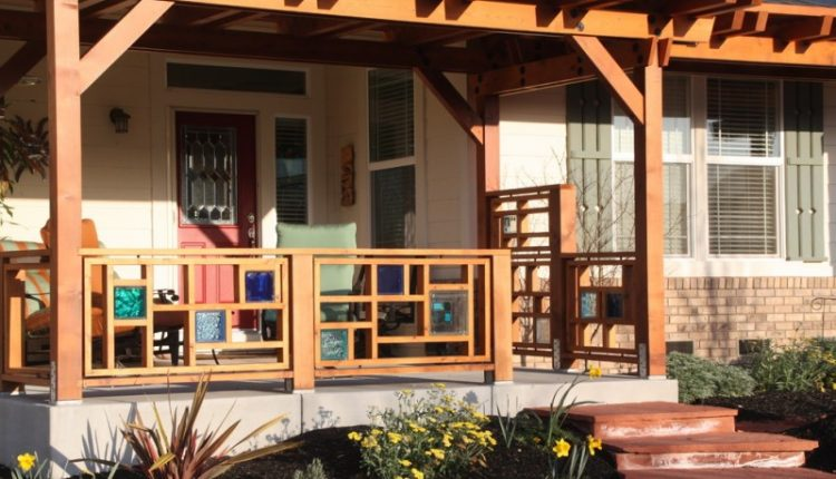 colored wooden railings idea with modern design white siding red front door with art glass panel glass window with shutter furniture for porch