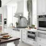 Contemporary White Cabinet Elegant Dark Dining Light Wooden Dining Table Stainless Steel Appliances Patterned Wallpaper