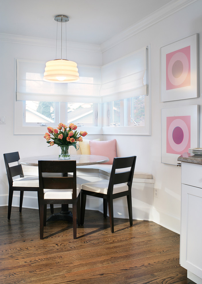 Kitchen Corner Table Set A kitchen corner lively in design and colors decohoms corner table set with white bench with white cushion and pink pillow black chairs with workwithnaturefo