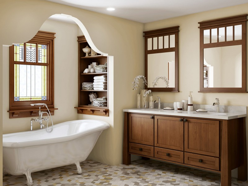 craftsman style bathroom playing with tiles and natural color palettes decohoms