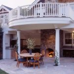 Craftsman Railings In White Craftsman Deck Large Porch With Outdoor Kitchen And Fireplace A Set Of Outdoor Furniture Made Of Wooden