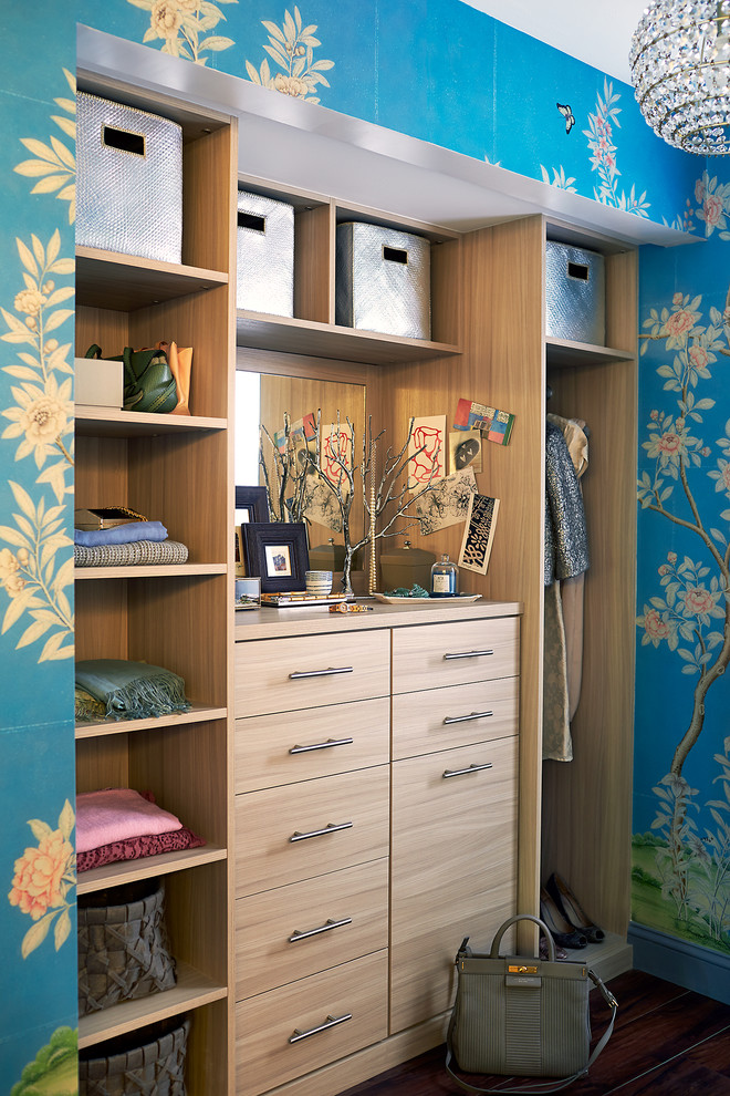 custom and built in closet organizer idea in beautiful painted wallpaper dressing room