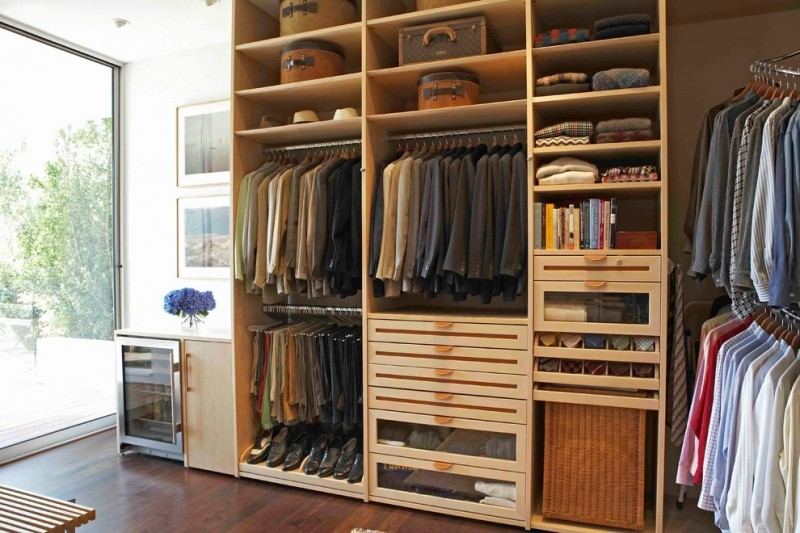 custom wooden made walk in closet organizer dark wood floors wood siding bench idea floor to ceiling glass window idea