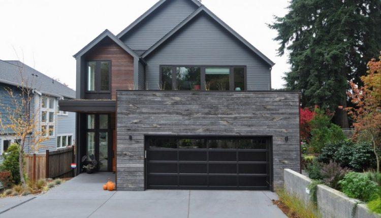 dark alumunium garage horizontally  veined wall grey siding brown siding wooden wall