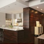 dark brown horizontal wood paneling in kitchen