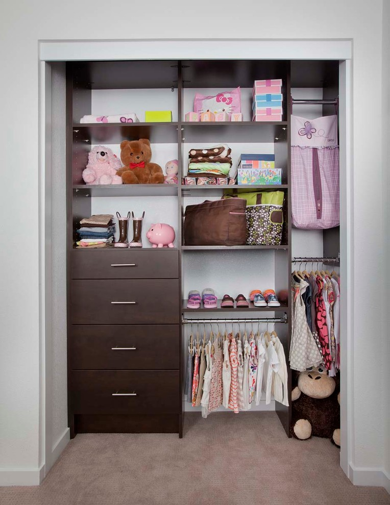 dark choco walk in closet idea for kids which consists of flat panel cabinets adjustable shelves mini hanging sections