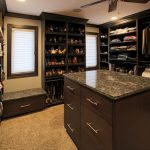 Dark Finishing Walnut Walk In Closet Idea For Lady Granite Top Center Table With Drawer System Beige Fury Rug Idea A Corner Window With White Transparent Shutter