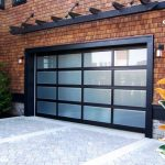 dark garage border alumunium garage border glass door dark overhead garage brick wall