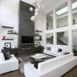 Dark Hardwood Floor Contemporary Pendant Lights Floating Shelves White Sofa Brick Fire Place Wall
