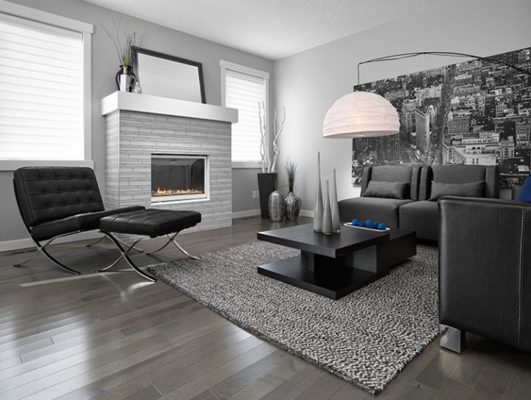 Dark Hardwood Floor Grey Wall Black Couches Customized Living Room Table  Urban Wall Picture Contemporary Hanging