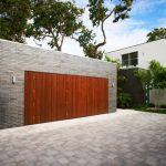 Dark Hardwood Garage Grey Tiled Brick Wall Brick Pave