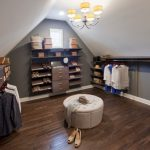 Dark Wood Finishing Walk In Closet Organizer For Low Walls And Roof Dressing Room