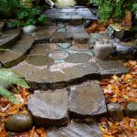 design footpath made by stone concrete stones leaves decoration pot home exterior homey atmosphere